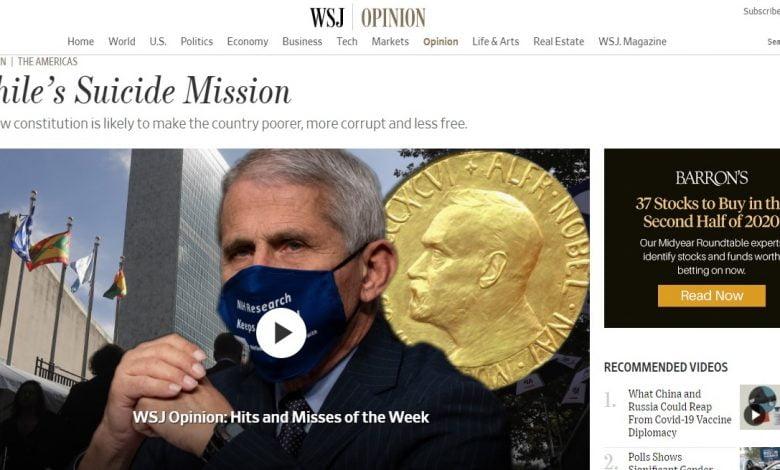 """Photo of Periódico The Wall Street Journal y su opinión sobre el Plebiscito: """"Misión suicida habrá en Chile"""""""